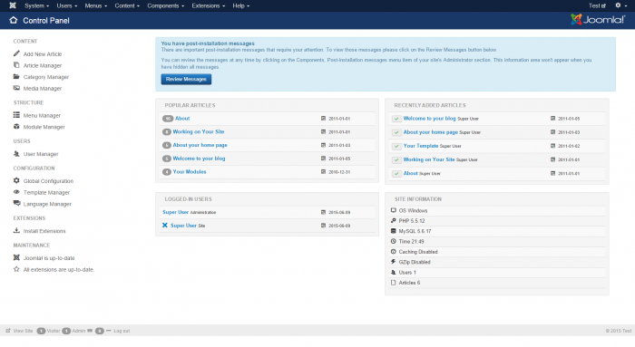 joomla administration dashboard