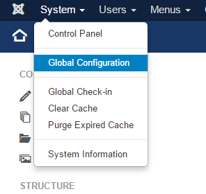 joomla - global configuration
